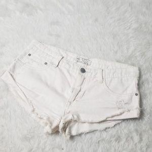"Free People white Jean denim short shorts 26"""